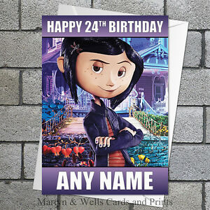 Coraline birthday card. 5x7 inches. Personalised, plus envelope.