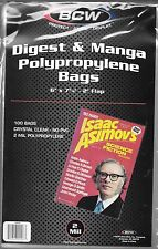(200) BCW DIGEST & MANGA SIZE BAGS / COVERS - TV GUIDE SIZE - FREE SHIPPING