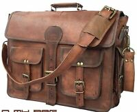 New Men's Genuine Vintage Brown Leather Messenger Shoulder Laptop Bag computer