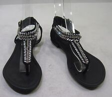 Womens Breckelles Black Rhinestones Sexy Summer Sandal Shoes Size  8
