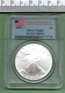 2007 GENUINE U.S.A. SLABBED FIRST STRIKE SILVER EAGLE PCGS MS 69