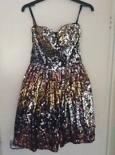 Women's Ladies Rare London black gold silver brown sequin dress size small 6-8
