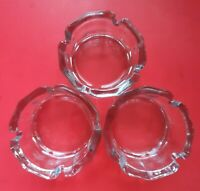 "Set of 3 New NOS 12 Sided Libbey Gibraltar 4"" Ashtray Clear Glass"