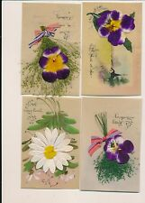 Postcard  original WWII Plastic cards pansy flowers 38