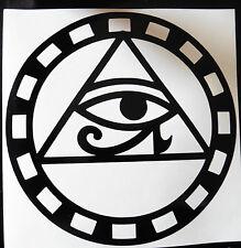HORUS EYE cercle dieux mythe Magic autocollants / VOITURE / FOURGONNETTE / Pare-chocs / fenêtre / autocollant 5212 noir