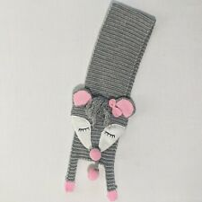Mud Pie Toddler Girls Gray Pink Knit Racoon Scarf Wrap