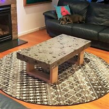Concrete coffee table with charcoal polished concrete and hardwood Vic Ash base