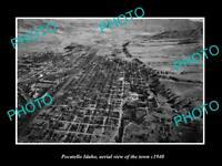 OLD POSTCARD SIZE PHOTO POCATELLO IDAHO, AERIAL VIEW OF THE TOWN c1940
