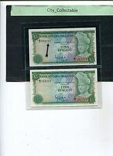 B010 # MALAYSIA 1976 3RD SERIES $5 B/17 252222 & 223 (2 PCS) * UNC