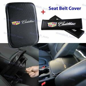 Embroidery Center Armrest Cushion Pad Cover + Seat Belt Cover Set For CADILLAC