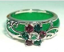 Popular green jade crystal Flower Ring