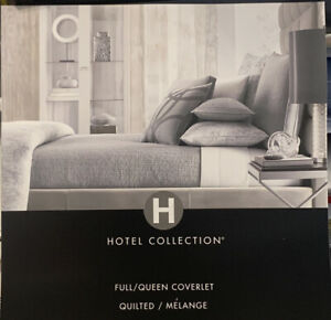 Hotel Collection Eclipse FULL / QUEEN Quilted Coverlet Gray. New Retail $335