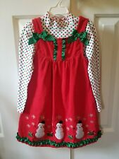 Girl Dress Jumper Red and Green Snowman Holiday Christmas Nannette Kids - Size 6