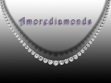 """7 ct G SI1 round diamond tennis graduated 4 prong necklace 14k white gold 16"""""""
