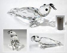 Swarovski Crystal Retired Large Seal /Black Whiskers - Mint In Box