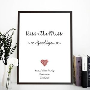 Kiss The Miss Goodbye Hen Party Do Game Accessories Keepsake Bride Personalised