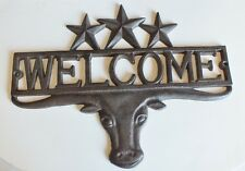 "Rustic Western Steer Cast Iron Welcome Texas Stars Plaque Sign Decor 13"" Wide"