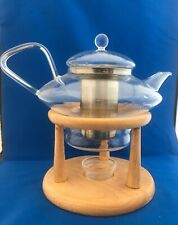 Modern Clear Glass Teapot Infuser and Wooden Warming Stand