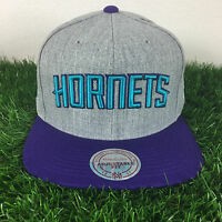 Mitchell and Ness Charlotte Hornets Gray Adjustable Fit Wool Snapback Cap Hat
