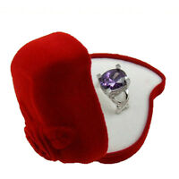 Newest Red Heart Shape Velvet Ring Box Wedding Engagement Jewelry Cases Boxes