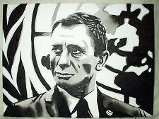 Canvas Painting James Bond Daniel Craig Map B&W Art 16x12 inch Acrylic
