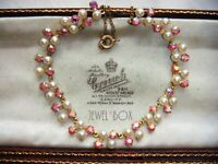 EARLIER VINTAGE Pink Aurora Borealis Crystal Rhinestone Faux Pearl NECKLACE Gift