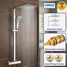 Niki Slim Square Thermostatic Dual Control Twin Head Shower Mixer WRAS Approved