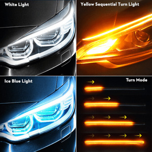 45CM Car Auto Flexible Switchback LED Knight Rider Strip Light DRL Sequential