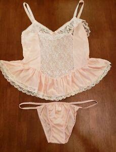 Vtg 60s Sheer Nylon Lace Baby Pink Babydoll & Panties Lingerie Set USA Union S