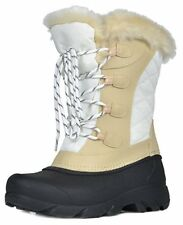 Womens Boots Winter Snow DREAM PAIRS Linx Beige White Faux Fur Mid Calf  7 M US