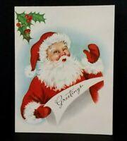 Vintage Christmas Greeting Card By Heywood 1950's Santa Claus Xmas Greeting Card