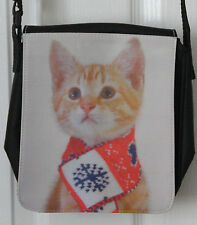 Small Shoulder Bag with Cute Kitten with scarf photo print. Free UK postage