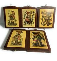 Set of 5 Vintage Hummel Goebel Print Wood Wall Hanging Boy Girl
