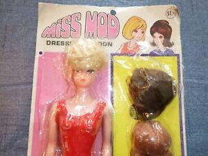 Vtg NEW Miss Mod Doll Dressing Saloon Barbie Fashion Queen Clone Wigs 2 Dresses