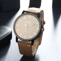 New Brown Leather Steel Black Dial Quartz Watch Men's Wrist Watch