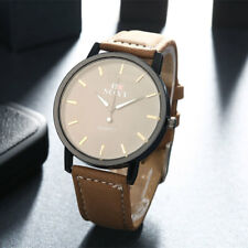 New Brown Leather Steel Black Dial Quartz Watch Men's Wrist Watch