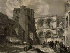 Eglise du Saint Sépulcre Jérusalem - Gravure originale XIXe