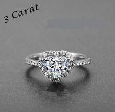 Topaz White Gold Fashion Statement Size 7.75 Heart Cut & Cz Halo Ring, 3Ct White