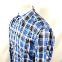 Hugo Boss Button Front Dress Shirt Sz Large L/S Blue Plaid Check Cotton A13-03