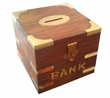 Handmade Indian Wooden Carving Safe Coin Bank Money Saving Box - Banks for Ki...