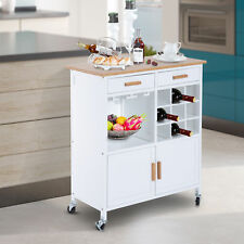 HOMCOM Rolling Kitchen Utility Trolley Serving Cart Bamboo Top w/ Wine Rack