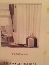 """Tommy Hilfiger California Dot Yellow White Fabric Shower Curtain 72""""x72"""""""