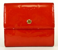 AUTH LOUIS VUITTON PORTE MONNAIE RED VERNIS LEATHER BIFOLD COIN CARD BILL WALLET