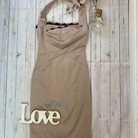 Karen Millen Size 10 satin gold halter neck party occasion fitted wiggle dress