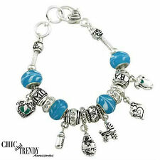 MOM / NEW MOM DESIGNER INSPIRED BLUE BABY BOY CHARM BANGLE BRACELET GREAT GIFT