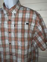 Eddie Bauer TRAVEX Sz LARGE Nylon Blend Plaid Button Up Camp Shirt Vented EUC