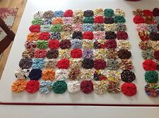 Vintage Yoyo Quilt 17x17 Square Table Topper