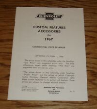 1967 Chevrolet Custom Features Accessories Price List Sales Brochure 67 Chevy