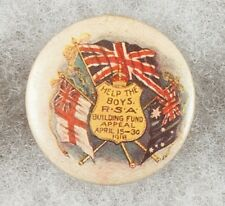 World War One Australian R.S.A. Building Fund Appeal 1918 Pinback Button Badge