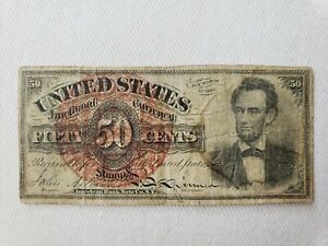 1863 Lincoln 50 cent Fractional Note